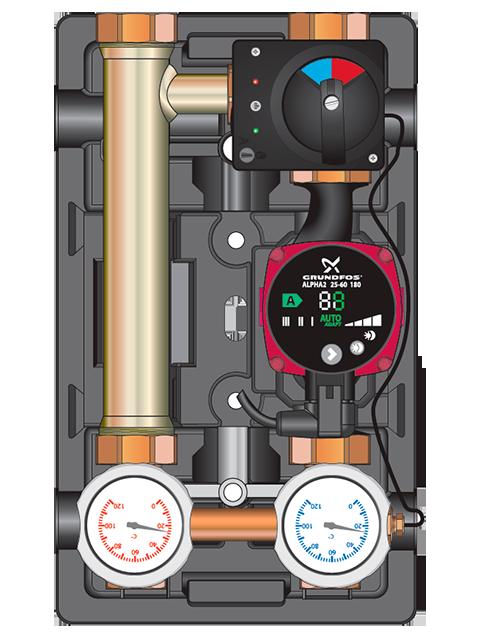 Насосная группа с термостатом для поддержания температуры обратной линии 8-го поколения Meibes 45841