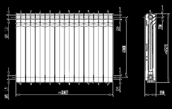Радиатор-алюминиевый-Armatura-G-500-F-размеры
