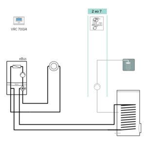 Схема 1: Подключение погодозависимой автоматики VRC 700 - прямой контур+бойлер