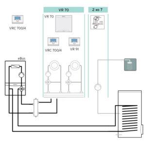 Схема 2: Подключение погодозависимой автоматики VRC 700 - два контура+бойлер