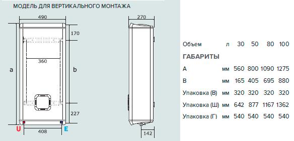 Размеры электрических водонагревателей ARISTON ABS VLS QH