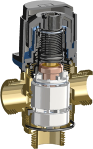 Разрез нового термостатического клапана AFRISO для теплого пола.