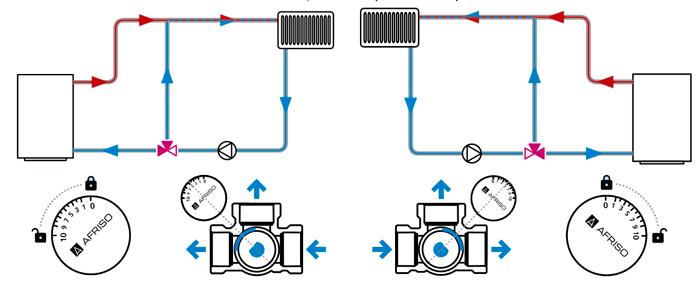 Схема № 2 подключения трехходового клапана AFRISO ARV.