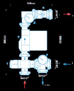 Схема подмесного узла AFRISO