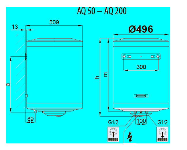 Размеры электрических настенных водонагревателей Aquastic серии AQ 50