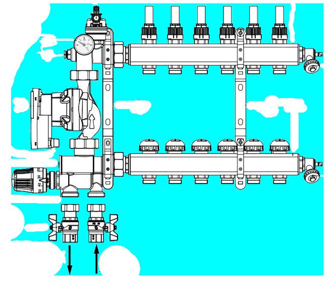 Схема монтажа смесительного узла FIV MIXING 6132R00.