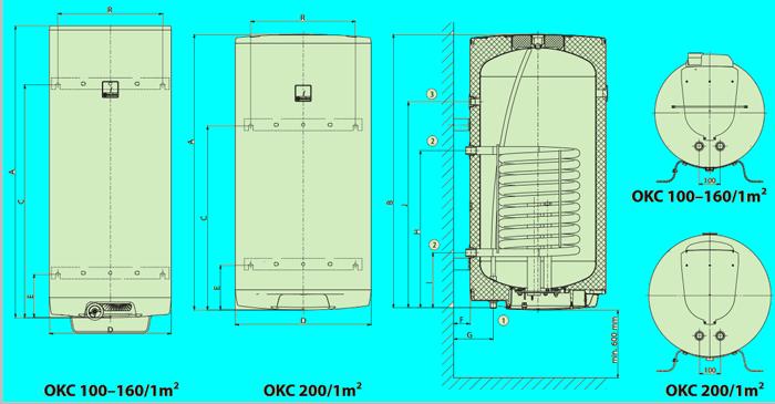 Размеры бойлеров косвенного нагрева Darazice OKC 1m2