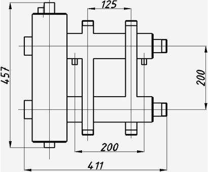Размеры гидрострелки с коллектором Termojet ck-182.125