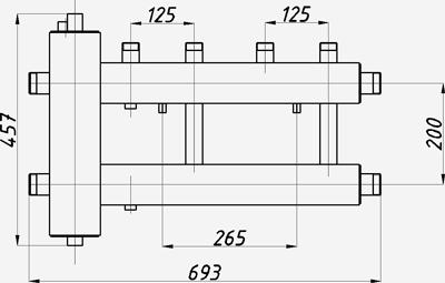 Размеры гидрострелки с коллектором Termojet ck-222.125