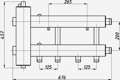 Размеры гидрострелки с коллектором Termojet ck-232.125