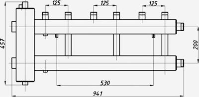 Размеры гидрострелки с коллектором Termojet ck-322.125
