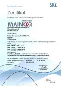 Сертификат maincor SKZ ISO 9001
