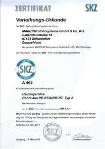 Сертификат SKZ трубы отопления pert-al-pert maincor
