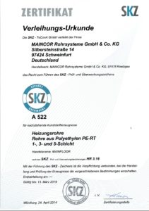 Сертификат SKZ pert2-evoh-pert2 maincor