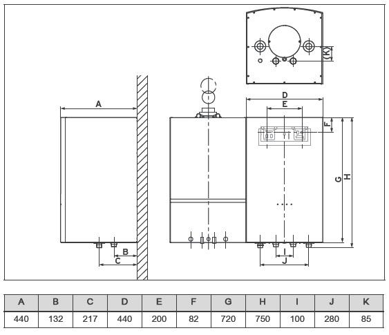 Размеры бойлера косвенного нагрева Vaillant VIH QL 75 B