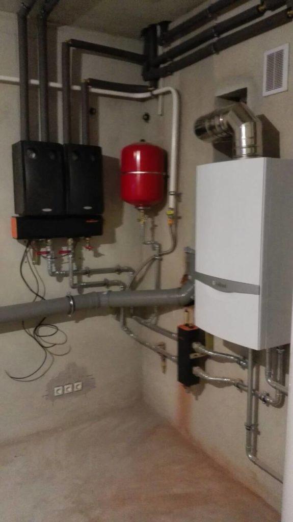 монтаж отопления дома газовым котлом vaillant с применением насосных групп meibes