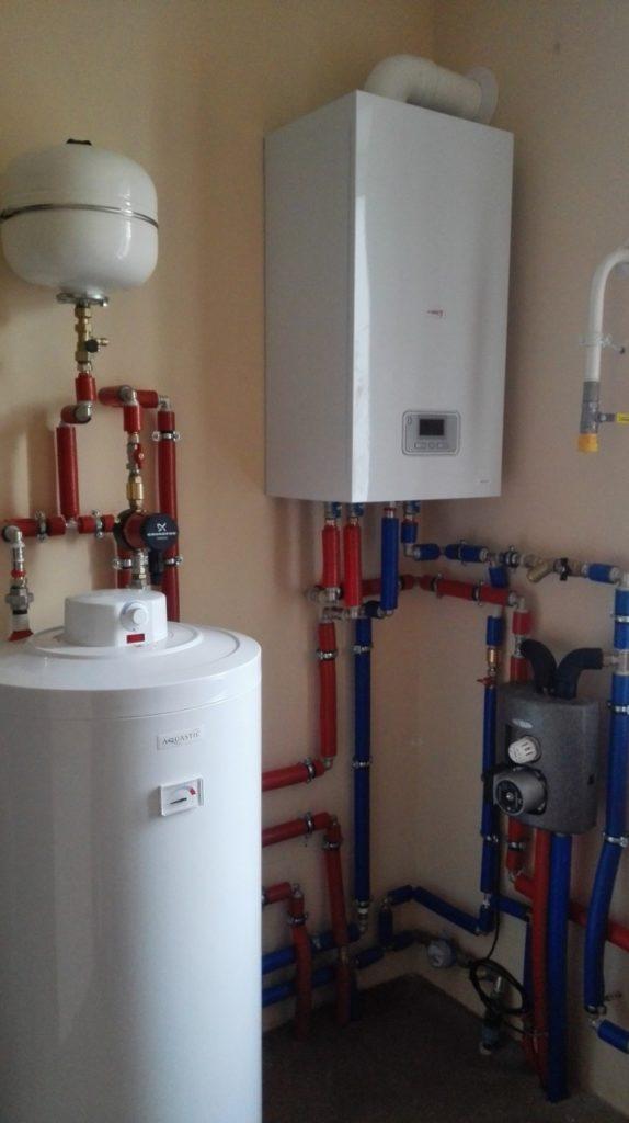 отопление дома котлом protherm и бойлер нагрева воды aquastic колодищи