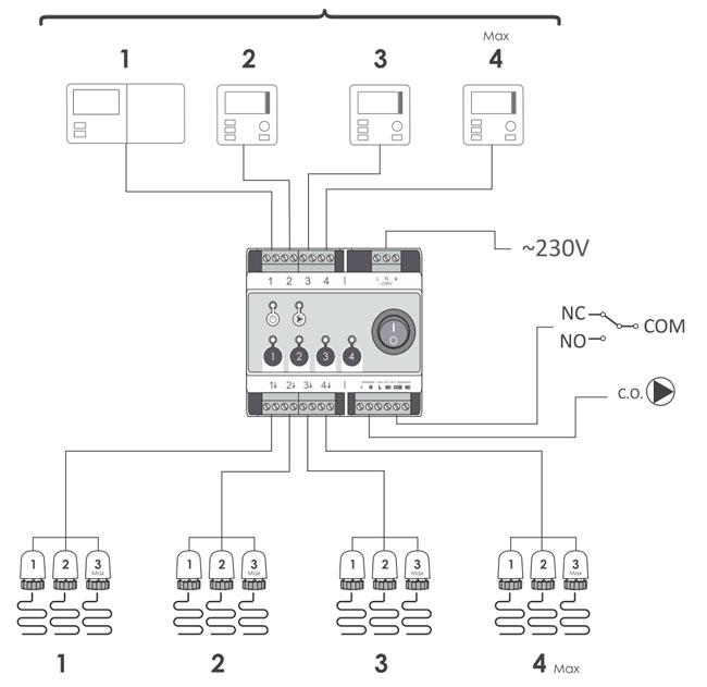Принципиальная схема проводного контроллера Auraton 4D