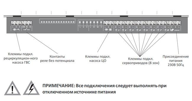 Схема клеммного подключения к Auraton 8000