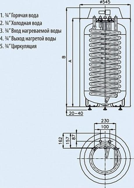 Бойлер косвенного нагрева скоростной AQUASTIC HR - T 30 - размеры