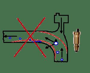 Неправильная установка развоздушника на повороте трубы