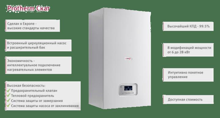 описание и плюсы электрического котла protherm скат 28 для отопления
