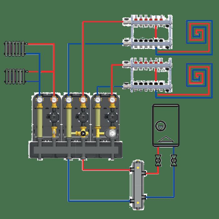 подключение насосной группы с термостатическим смесительным клапаном Barberi 02g02000fe