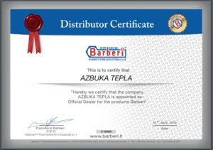 сертификат дилера продукции Barberi для ООО Азбука Тепла на территории РБ