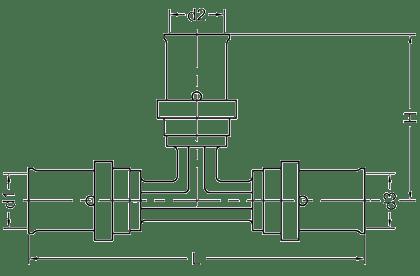 Геометрические размеры тройника SANHA 3fit-Press