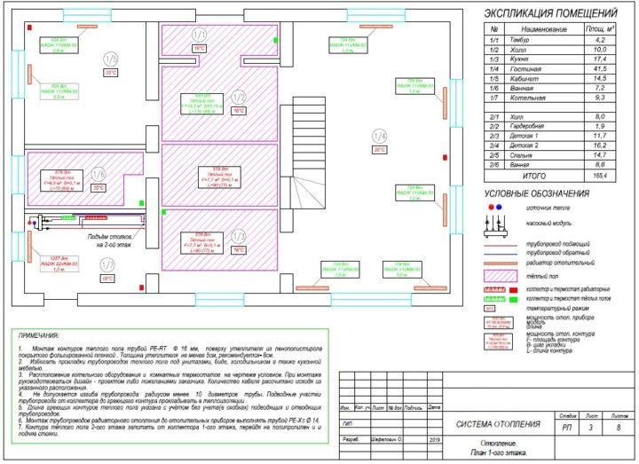 Проект отопления дома схема теплого пола