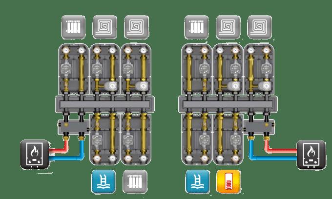 схема подключения коллектора Barberi в систему отопления