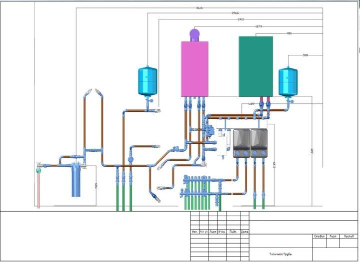 схема прокладки друб в котельной проект отопления