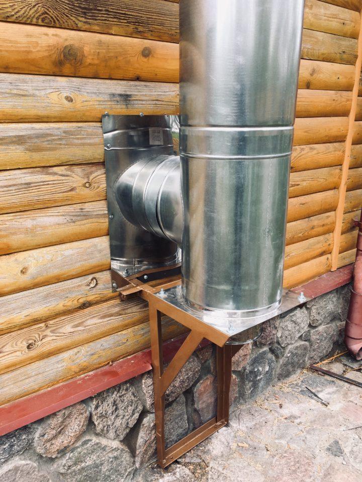 Монтаж и установка дымохода на деревянную стену
