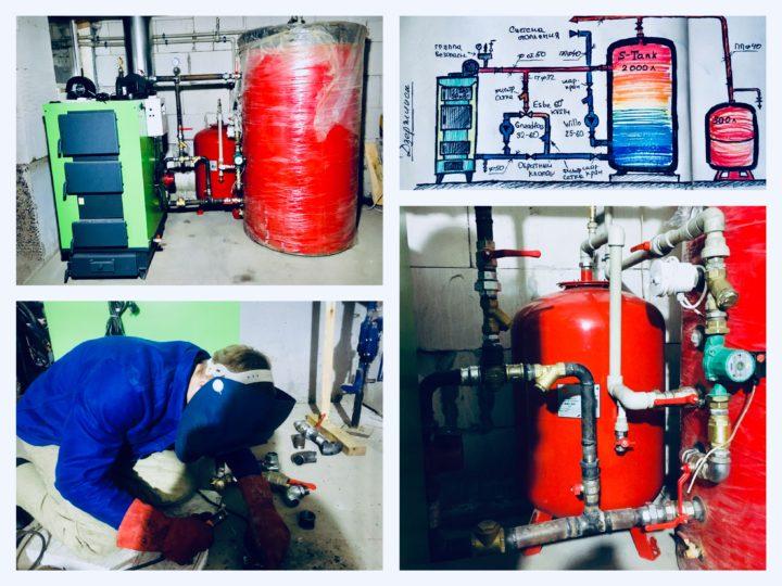 Монтаж систем отопления дома с твердотопливным котлом