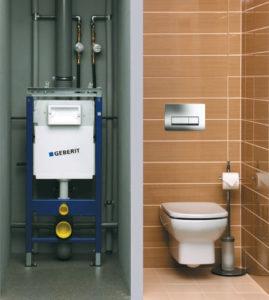 монтаж инсталяции Geberit в туалете многоэтажного дома