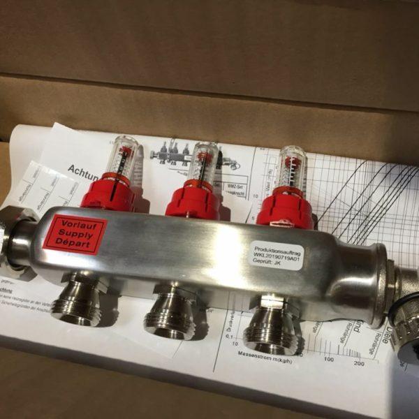 распределительный коллектор с расходомерами для теплого пола maincor германия