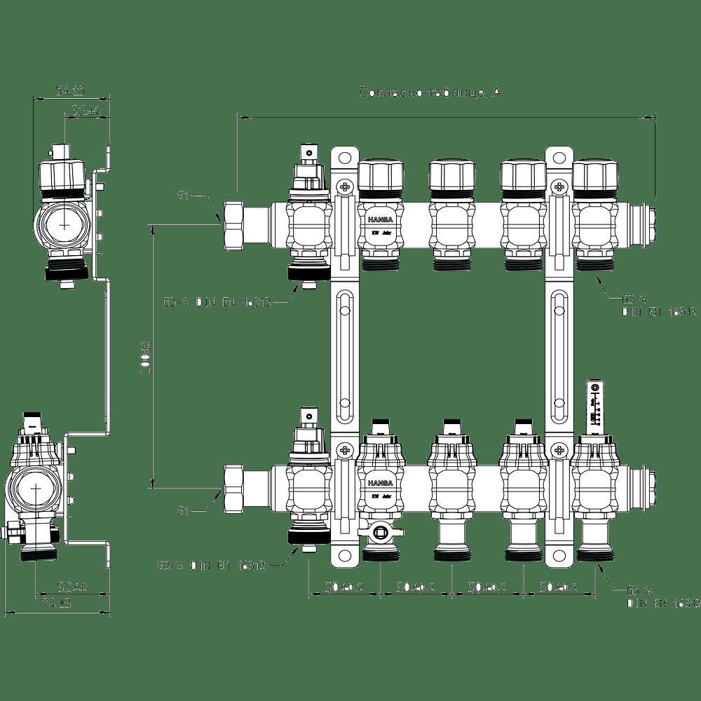 Размеры гребенок для радиаторного отопления немецкого производителя SANHA
