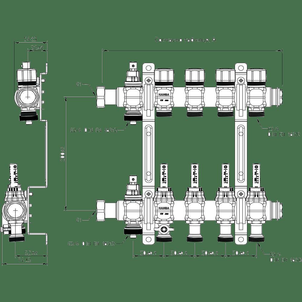 Размерная таблица немецкого производителя гребенок SANHA