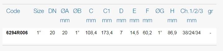 Размеры шаровых кранов FIV 6294R006 таблица