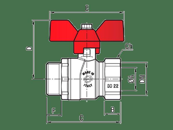 Шаровый-кран-с-резьбой-НВ-8367-FIV-PERFECTA-красный