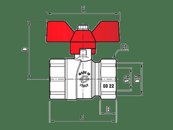 Шаровый-кран-с-резьбой-ВВ-8366-FIV-PERFECTA-красный