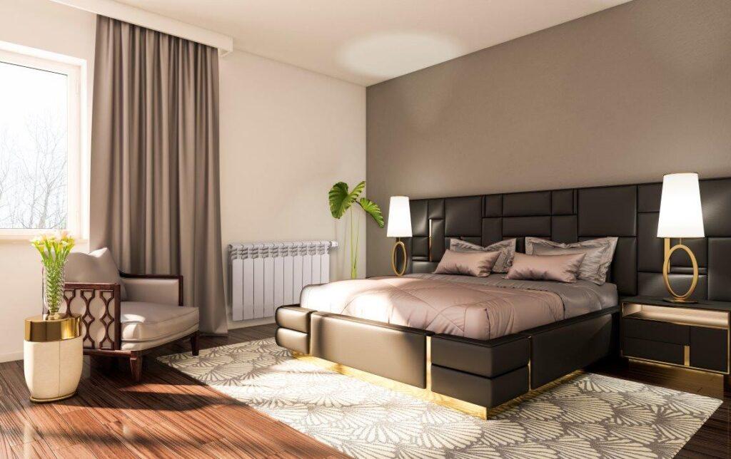 алюминиевый радиатор Armatura G 500 F в спальне