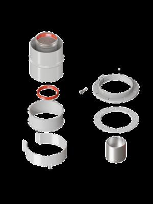 Коаксиальный вертикальный адаптер 60/100 с хомутом и фланцем торговой марки KRATS